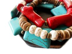 Turquoise, red coral and coco pukalet wood.