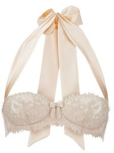 white lace bra with bow halter