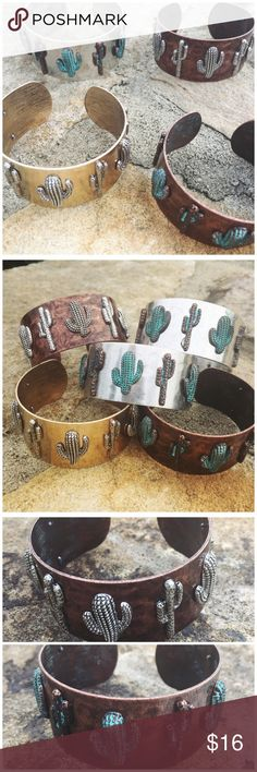 """Cactus Cuff Bracelet Cactus Cuff Bracelet --- 1.1"""" wide with 7 cacti  metal findings --- Bras alloy metal --- Price firm unless bundled Boutique Jewelry Bracelets"""