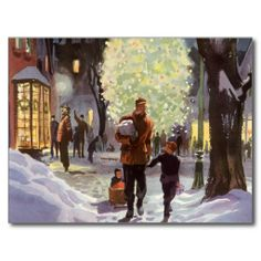 Dad Christmas Shopping with the Kids in the Snow Postcard Snow covered city  with Xmas shoppers .In the background there is  a huge Xmas tree  enlightened and in front a father is holding the hand of his son and pulling other one riding a sledge .Lovely  atmosphere of urban festive season .
