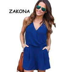 6e74ee29f1d7 Women chiffon playsuit 2017 v-neck sleeveless loose summer jumpsuit rompers  Casual overalls Ladies tops