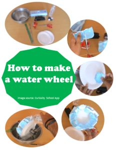 "How to make water wheel - a science project inspired by the free app ""Curiosity School"". #Free #app #science #STEM #kidsapps #kidsactivities"