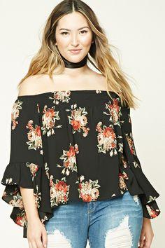 eaa53d128c721 Plus Size Floral Flounce Top