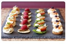 Canape Selection - great presentation! Ideas: Tandori Chicken/Toasted Naan; Hoisin Duck/Rice Cracker; Smoked Chicke/Spinach Cone; Thai Basket/Thai Green Chicken; Mini Brioche/Smoked Duck; King Prawn/Parma Ham; Smoked Salmon Bilinis; Smoked Mackerel/Oriental Cracker; Crab/Crust Cup; Masala Vegetables/Pastry Nest; Mini Vegetable Tartlets; Chargrilled Vegetables/Focaccia; Roast Pear/Rye Bread; Tomato and Mozzarella Skewer; Mini Pizza Bites | Fresh N Funky Catering London