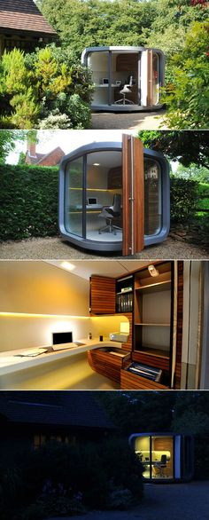 So cool! Office POD: A secluded, peaceful work environment that can be built anywhere—indoors or out.  source:http://www.officepod.co.uk/