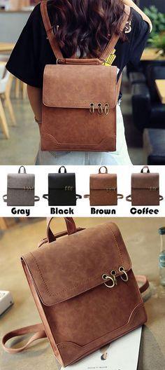 Retro Metal Circular Rings Multifunctional Shoulder Bag Backpack Square Frosted PU Flap Backpack for big sale! #square #PU #flap #school #Backpack #bag #college #student #women #travel #rucksack #cute