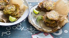 """""""These crisp vegetarian cakes would make a great accompaniment to your bacon and eggs in the morning. Alternatively, break them in half and toss through a green papaya salad with fresh Asian herbs. Asian Recipes, New Recipes, Vegetarian Recipes, Favorite Recipes, Healthy Recipes, British Recipes, Savoury Recipes, Healthy Meals, Trinidadian Recipes"""