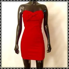 "BODY CENTRAL Gorgeous Red Dress Size M 75%Rayon, 21%Nylon, 4%Spandex                       On the mannequin, it is 22"" at the back and 25 and a half inches at the front.  You can always remove the ribbon at the front. Body Central Dresses Mini"