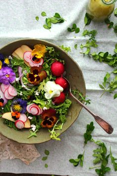Pansies have a grassy taste, and they work well in soups and salads.