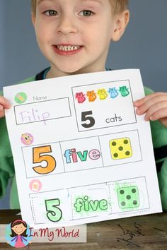 FREE Numbers cut and paste activity. Great for teaching 1-1 correspondence.