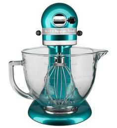 The KitchenAid Artisan Design Series Stand Mixer adds radiance to any kitchen with a premium metallic finish and elegant glass mixing bowl. With 10 Kitchenaid Artisan Stand Mixer, Kitchenaid Mixer, Kitchen Aid Mixer Attachments, Head Stand, Pasta Maker, Hand Blender, Kitchen Collection, How To Make Bread, Sea Glass