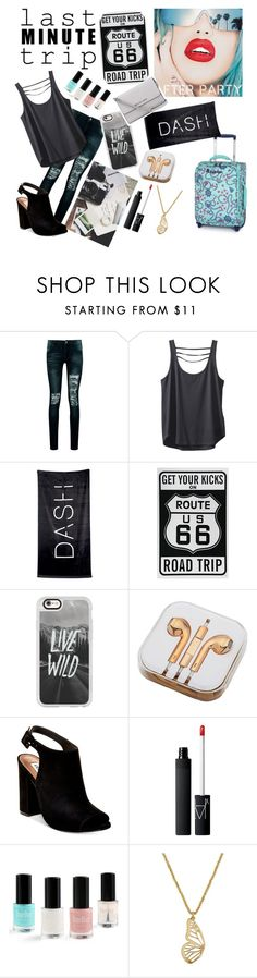 """""""Last Minute Trip"""" by dream-a-wish ❤ liked on Polyvore featuring Boohoo, Kavu, Rupaul, Disney, Casetify, PhunkeeTree, Steve Madden, NARS Cosmetics, Lucky Brand and MICHAEL Michael Kors"""