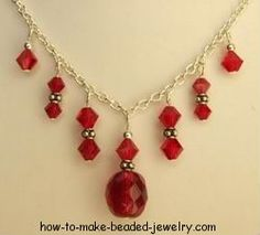 Step-by-step illustrated instructions for making a crystal necklace.