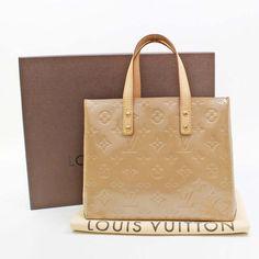 Louis Vuitton Reade PM Monogram Vernis Handle bags Beige Patent Leather M91334
