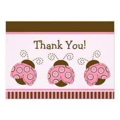 Pink & Brown Mod Ladybug Baby Shower Thank You Custom Invitation