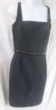 WOMENS CARMEN MARC VALVO Dress Sleeveless Gown 12 BLACK Jet Glass Belt