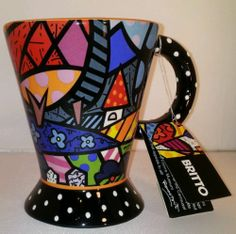 "Romero Britto Coffee Mug Tea Cup ""Home"" 2009 Wildly Colorful Pop Art Flowers NWT"