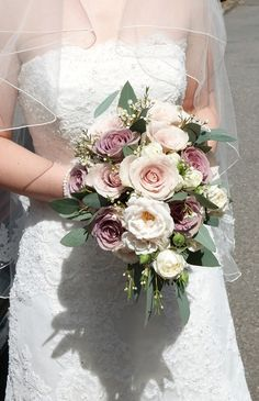 Handtied bouquet of vintage roses (amnesia, majolica and quicksand) waxflower and eucalyptus by Most Curious Rose