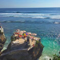 Delpi Rock Lounge, Uluwatu Bali. 3 level lounge club at a hidden beach.