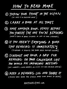 austinkleon: How to read more. Here are books I've written. Here are of books I like.