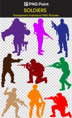 Silhouette Images, Icons and Clip arts of Military Soldiers with weapons in different poses and colors with transparent background.
