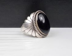 Old Mens Navajo Sterling Silver Ring Hand Made Vintage Native American Art Onyx #None