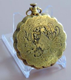 Vintage Max Factor English Garden Compact, Pocket Watch Style.
