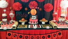 Basketball Themed Dessert and Candy Buffet Table