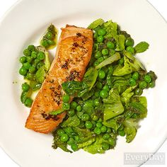 Salmon with Peas & Mint