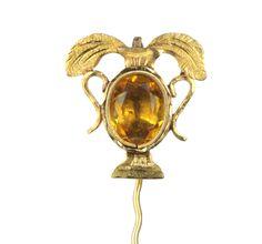 Stick pin stickpin gold  vintage antique   14 kt   yellow glass stone   Victorian   Egyptian revival   Art Nouveau   circa 1890 by DavidJThomasJewelry on Etsy