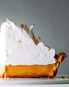 Deep-Dish Pumpkin-Meringue Pie | Martha Stewart Living - Room-temperature egg whites will produce the most voluminous meringue.