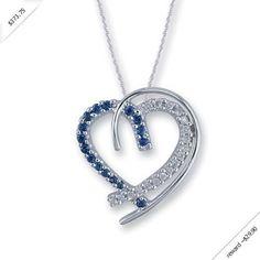 Women's Diamond & Sapphire Necklace in 14K White Gold (0.53 ctw)