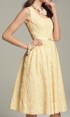 #yellow jacquard dress  http://rstyle.me/n/igpsdpdpe