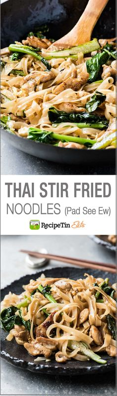 Thai stir fried noodles (Pad See Ew), a very popular Thai Street food, with chicken and Chinese Broccoli (kai-lan). On the table in 15 minutes.