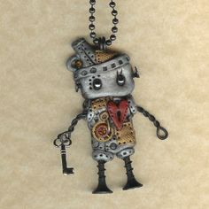 steampunk robot charm - World's Greatest Bitch Pin / Brooch - Vintage Jewelry ethnic jewelry Jewelry making I would fe. Chat Steampunk, Steampunk Robots, Mode Steampunk, Style Steampunk, Gothic Steampunk, Steampunk Fashion, Steampunk Crafts, Betty Boop, Tin Man