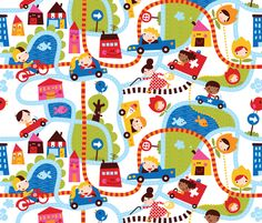 En route to 'Bora Town' fabric by bora on Spoonflower - custom fabric -- This would make a great floor play quilt for baby!