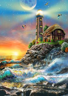 Product Description : DIY Diamond mosaic lighthouse Full square Diamond painting Cross stitch seaside house round Diamond embroidery sea Home Decor Thomas Kinkade, Lighthouse Painting, Lighthouse Decor, Lighthouse Pictures, Creation Photo, Cross Stitch Landscape, Pattern And Decoration, Diy Decoration, Light Of The World