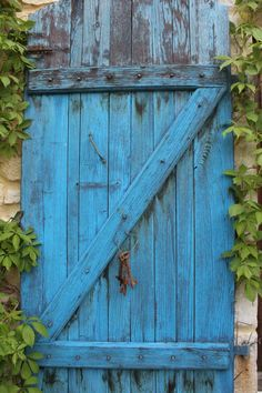 The Blue Door - on the stone terrace at LaTour in Gascony, SW France