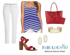White jeans and a striped asymmetrical top for the 4th of July   Fabulous After 40