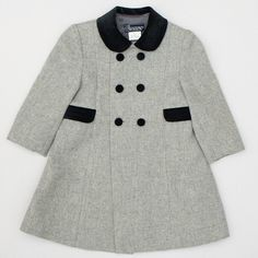 Unisex Classic Coat in Grey for Boys and Girls from Pepa and Company - Spanish Clothing for Children. - online boutique shop for casual and formalwear