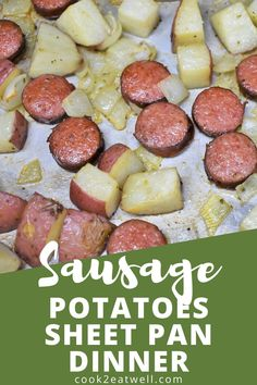 This sheet pan sausage and potatoes is the dinner to make when you're short on time, money and energy. In this recipe fully cooked polka kielbasa sausage, red potatoes and onions are seasoned and baked until the sausage is golden and the potatoes are tender. This is a delicious and easy dinner that only requires a handful of affordable ingredients and very little effort.
