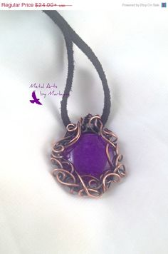 Dyed Purple Dragon's Vein Agate Gemstone Necklace Copper Wire Wrapped Pendant  Bohemian Hand Wrapped  SteampunkValentine's Day Gift