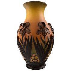 Rare Ipsen's, Denmark Art Nouveau Large Ceramic Vase, Flowers in Relief