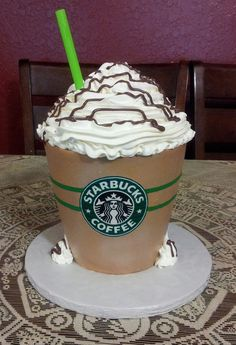 "Mocha Frappuchino cake - 2 6"" and 2 7""  stacked cakes all frosted in Pastry Pride.I want this cake @Amanda Martin"