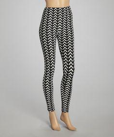 Look what I found on #zulily! Black & White Wishbone Leggings - Women by SR Fashions #zulilyfinds