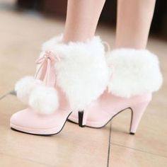 Rabbit fur thick heel boots high heels bow medium-leg boots martin boots snow boots pinkish white wedding shoes(China (Mainland)) Source by Smoochiie_Ex Thick Heel Boots, Heeled Boots, Shoe Boots, Platform Ankle Boots, Fur Boots, Calf Boots, Pretty Shoes, Cute Shoes, Me Too Shoes