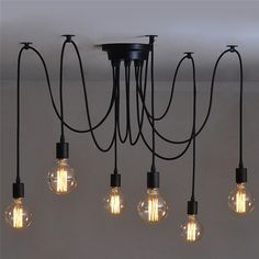 Vintage Industrial Edison Ceiling Pendant Style Retro 6 Lights