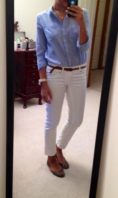 "F21 button-up/""Paris"" necklace/belt, Target pants, NY watch, Target Mossimo Ona flats"