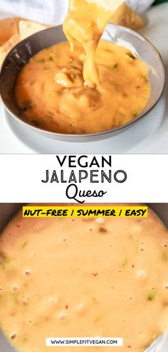 This vegan Jalapeno Queso Dip recipe is potato-based and is nut free and dairy-free. It's a perfect party appetizer to enjoy with tortilla chips or veggies! #queso #veganqueso #veganappetizer Vegan Lunches, Vegan Snacks, Vegan Meals, Vegan Dishes, Vegan Food, Vegetarian Desserts, Healthy Appetizers, Appetizers For Party, Appetizer Recipes