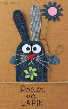 Poser un lapin...c'est pas bien!! #jeans #recycle www.toutpetitrien.ch et www.pinterest.com/fleurysylvie